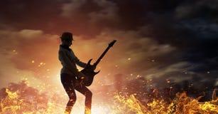 Rock girl with guitar. Mixed media Stock Photo