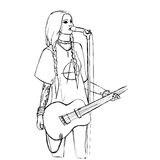 Rock girl with guitar Royalty Free Stock Photography