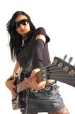 Rock girl holding guitar stock photo