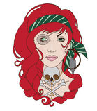 Rock girl with red hair. Girl with tattoo and red hair Stock Images