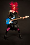 Rock girl shaking her head Stock Photo