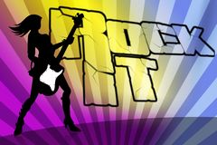 Rock girl silhouette colourfull background Royalty Free Stock Photos