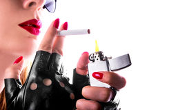 Rock girl smoking a cigarette Royalty Free Stock Photo