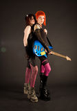 Rock girls with bass guitar stock photos