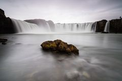 Rock in Godafoss waterfall, Iceland stock photos
