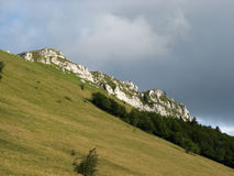 Rock of Grand Colombier, Ain, France. A cliff at the top of a mountain, dominating a forest and a pasture Stock Image