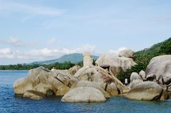 Rock Grandfather (Hin Ta),  Lamai beach, Koh Samui, Thailand. Royalty Free Stock Images