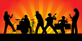 Rock group. Rock band. Silhouettes of six musicians. Vector illustration Royalty Free Stock Images