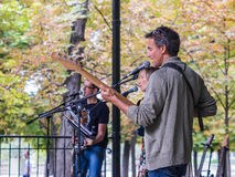 Rock group CFMR plays in Luxembourg Garden, Paris, France, Septe Stock Images