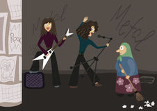 Rock group playing music in the street, the old vector illustration