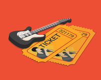 Rock group singer concert show ticket booking flat 3d isometric Royalty Free Stock Images