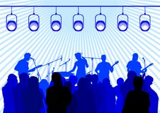 Rock group on stage. Vector drawing musical group on stage Royalty Free Stock Images