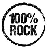 100% Rock. Grunge symbol ready to stamp. On any marketing object Stock Photos