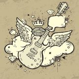 Rock Guitar. Grunge RocknRoll Guitar with wings on the cloud stock illustration