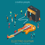 Rock guitar and amp combo with micro people Royalty Free Stock Photography