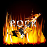 Rock guitar in flames. Vector illustration of a metal inscription letters rock in a flame with a fatal electric guitar on fire in the foreground Stock Photo