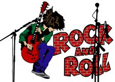 Rock guitar man two. Musician with guirar in rock style on a white background Royalty Free Stock Photos