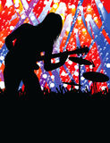 Rock guitar player. Vector illustration of rock guitar player on stage (place to copy Stock Photos