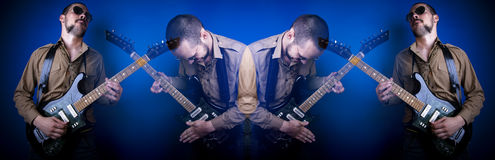 Rock guitar player collage. A collage of a rock guitar player, using multiple exposures Royalty Free Stock Photo