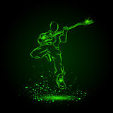 Rock Guitar Player Jumping with Sunglasses. royalty free illustration