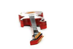 Rock guitar with shallow DOF. Isolated on white Stock Photography