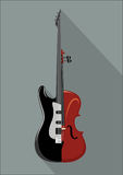 Rock guitar and violin. Isolated musical instrument on white background. Classic and Rock concept. Vector illustration Stock Photos
