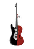 Rock guitar and violin. Isolated musical instrument on white background. Classic and Rock concept. Vector illustration Stock Photo