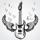Rock guitar and wings Royalty Free Stock Photos