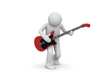 Rock guitarist. 3d isolated characters on white background series Royalty Free Stock Photography