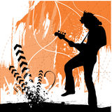 Rock guitarist. Grunge style rock guitarist silhouette vector Royalty Free Stock Images