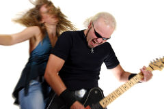 Rock guitarist. Isolated on white background Royalty Free Stock Photos