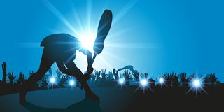 Rock guitarist breaks his guitar on stage. Concert hall, a rock guitarist breaks his guitar on stage in front of a crowd of delirious fans stock illustration