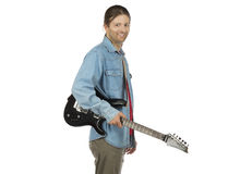 Rock guitarist with an electric guitar on white background Royalty Free Stock Photo