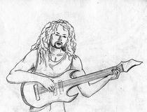 Rock guitarist -pencil sketch. Rock giutarist with long hair. He's playing the guitar and singing Royalty Free Stock Photography