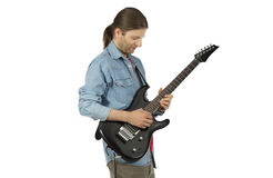 Rock guitarist playing an e-guitar Stock Images