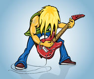 Rock guitarist playing on electric guitar. Vector illustration Stock Image