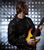 Rock guitarist playing electric guitar Stock Photos