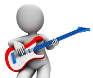 Rock Guitarist Playing Shows Music Guitar And Rocker Character Royalty Free Stock Photos