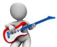 Rock Guitarist Playing Shows Music Guitar And Rocker Character. Rock Guitarist Playing Showing Music Guitar And Rocker Character Royalty Free Stock Photos