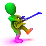 Rock Guitarist Shows Music Guitar Playing And Character. Rock Guitarist Showing Music Guitar Playing And Character Royalty Free Stock Photos