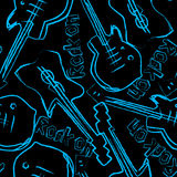 Rock guitars in a seamless pattern. Royalty Free Stock Image