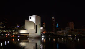 Cleveland Rock and Roll Hall of Fame. Night view of the rock and roll hall of fame from the water stock photography
