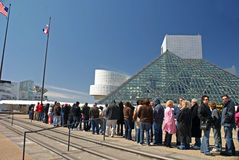 Rock Hall Induction Day 2009. Crowds wait in line outside of the Rock and Roll Hall of Fame on Induction Day 2009, March 4 royalty free stock photos