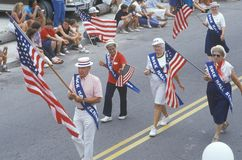 Rock Hall Senior Citizens Marching in July 4th Parade, Rock Hall, Maryland Royalty Free Stock Photo