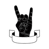 Rock on hand creative sign with ribbon, music emblem, rock n roll, hard rock, heavy metal, music, detailed black and white vector stock illustration