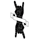 Rock on hand creative sign with two hands an ribbon, music emble. M, rock n roll, hard rock, heavy metal, music, detailed black and white vector illustration Royalty Free Stock Photos