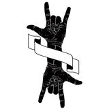 Rock on hand creative sign with two hands an ribbon, music emble. M, rock n roll, hard rock, heavy metal, music, detailed black and white vector illustration Royalty Free Stock Photo