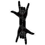 Rock on hand creative sign with two hands, rock n roll, hard roc. K, heavy metal, music, detailed black and white vector illustration Royalty Free Stock Images