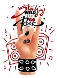 Rock hand poster stock photo