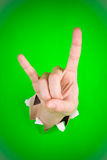 Rock on hand sign. A hand making the rock on or bullshit sign Stock Images
